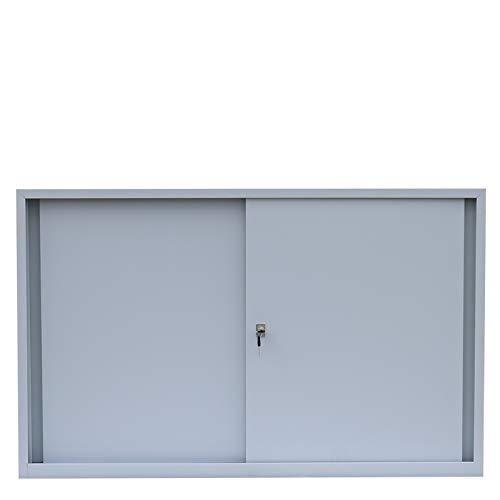 Schiebetürenschrank Schiebetüren Büro Aktenschrank Sideboard aus Stahl grau 750 x 1200 x 450 mm (Höhe x Breite x Tiefe) 550120