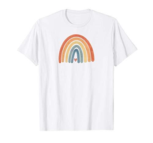 Boho Rainbow Minimal Retro Stripes Earthy Tan   Vintage Art T-Shirt