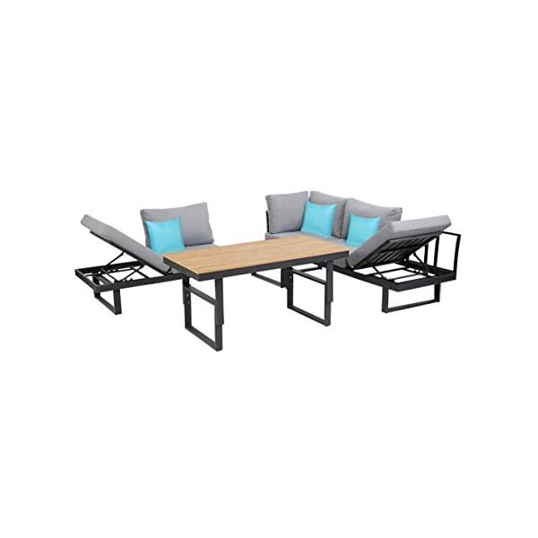 greemotion Lounge-Set San José, Gartenmöbel-Set aus Aluminium mit höhenverstellbarem Tisch, multifunktionale Sitzgruppe…