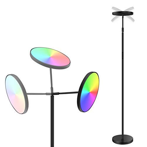 ANTING Lámpara de pie regulable LED, giratoria, control táctil, 3 temperaturas de color, moderno, minimalista, 25 W, RGB, decoración para salón, oficina, dormitorio, negro