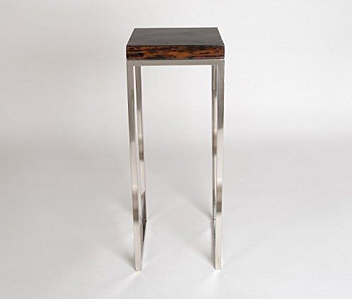Amaris Elements   Hochtisch 'Smith' mit modernen Edelstahl Beinen, braune glänzende Massiv-Holz-Platte, quadratisch 30x30x85cm Beistell-Tisch eckig Sofatisch Metall-Beine Podest Säule Ablage