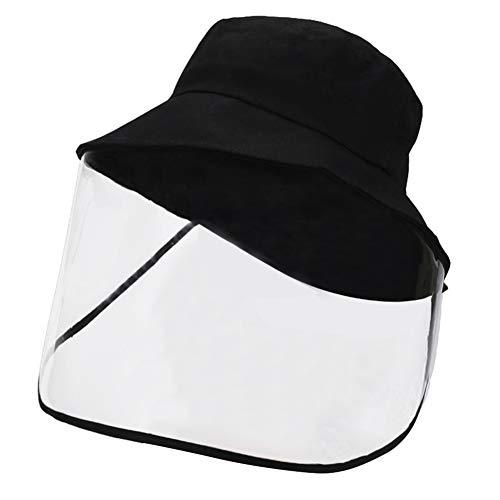 FEOYA Estivo Berretto con Visiera a Doppio Uso Staccabile Unisex Cappello da Pescatore Facciale Protettivo Anti-Fog Protezione UV Cappellino - Nero