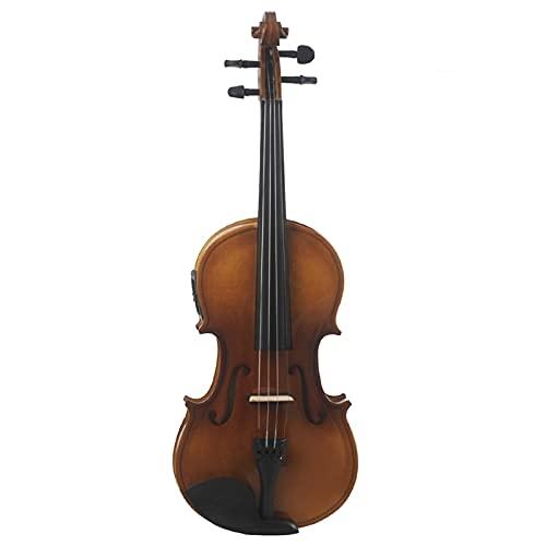 SHANDZ Caja eléctrica violín acústico violín eléctrico violín principiante madera (color: color natural, tamaño: 3 4)