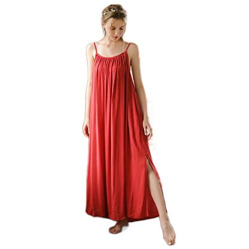 Camisones para Mujeres sin Mangas de Cuerpo Entero Rojo Sexy Ropa de Dormir Victoriano Vintage camisón Pijama Ropa de Dormir (L)