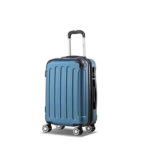 Flexot 2045 Handgepäck Koffer (Bordcase) - Farbe Blau Größe M Hartschalen-Koffer Trolley Rollkoffer Reisekoffer Handgepäck 4 Rollen