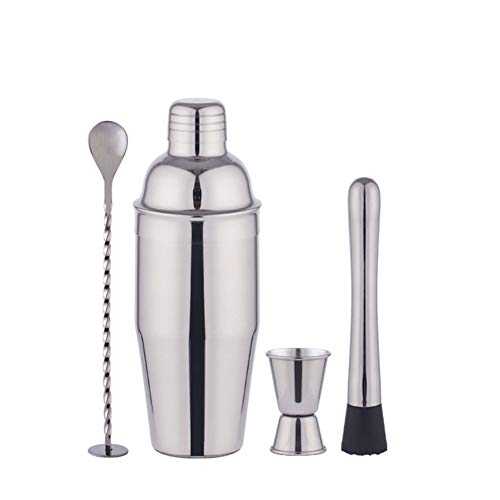 H-ei Fabricante de cóctel Set, 4 PC a casa Kit de preparación de cócteles con 700 ml Shaker latas, Bar Twisted Cuchara, Muddler, 15/30 ml Jigger
