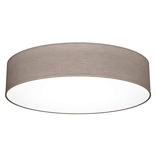 B.K.Licht Plafoniera LED in tessuto, LED integrati, luce bianca 4.000K, 20W 1800Lm, diametro 48cm lampada da soffitto grigio-talpa, IP20