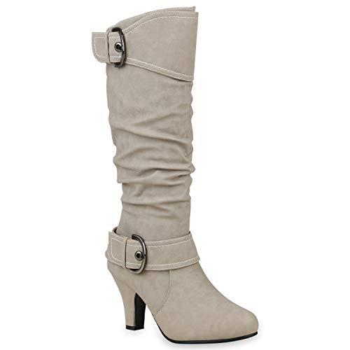 Warm Gefütterte Stiefel Damen Winter Boots Elegante Schnallen Trichterabsatz Wildleder-Optik Booties 128635 Creme 39 Flandell