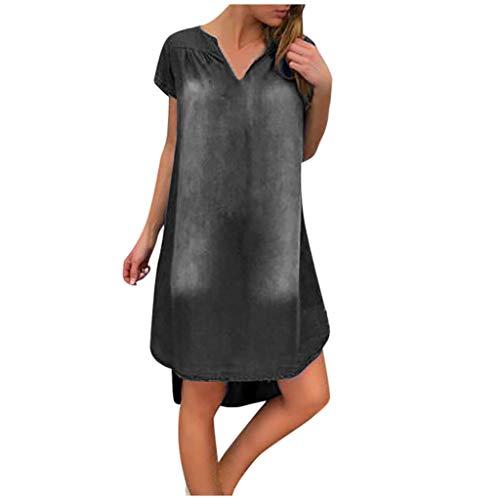 ZHANSANFM Damen Jeanskleid Mode Sommer Casual Turndown Neck Denim Partykleider Kurzarm Swing Dress Vintage Freizeitkleid Sommerkleid Jeans Kleider (XL, Schwarz-2)