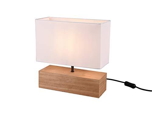 Hochwertige LED Tischleuchte mit weißem Stofflampenschirm auf Holzsockel rechteckig 12x30cm, Höhe 30cm