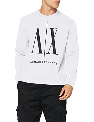 Armani Exchange Herren Icon Sweat Sweatshirt, Weiß (White 1100), Large (Herstellergröße:L)