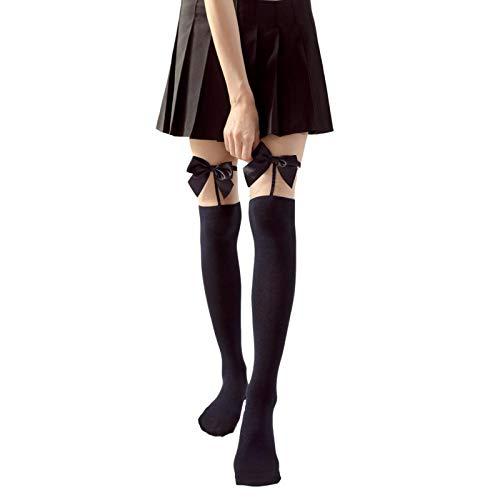 Medias hasta el muslo para mujer con lazos de satén de colores Medias transparentes(negro,talla única)