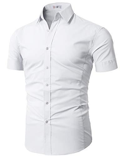 H2H Mens Basic Fashion Dressy Short Sleeves Shirt White US M/Asia L (KMTSTS0133)