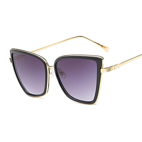 WANGZX Gafas De Sol con Forma De Ojo De Gato para Mujer, con Montura De Aleación, Diseñador De Marca, Gafas De Sol Retro para Mujer, Uv400, Negro, Gris