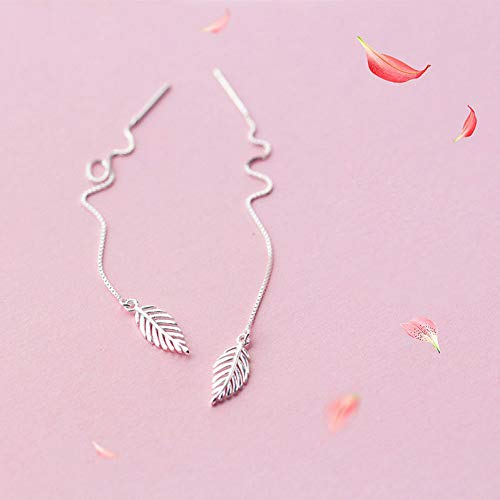 RCFRGV Halloween mask 925 Sterling Silver Punk Feather Palm Leaves Long Drop Earrings for Women...
