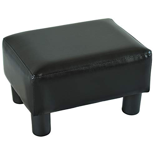 HOMCOM Modern Faux Leather Upholstered Rectangular Ottoman Footrest with Padded Foam Seat and Wood Legs, Bright Black