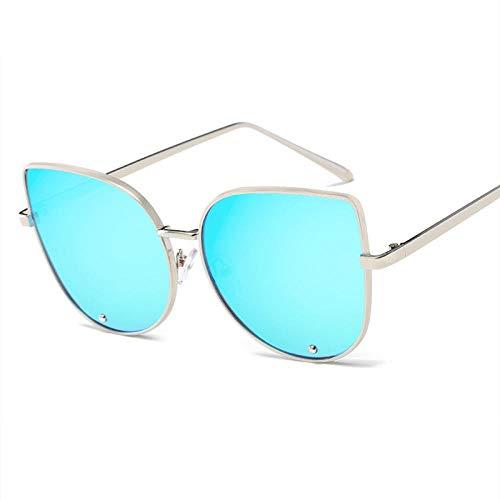 Gafas De Sol Hombre Mujeres Ciclismo Gafas De Sol Mujer Retro Lente De Espejo Gafas De Sol Gafas Graduadas Marco De Metal-Azul