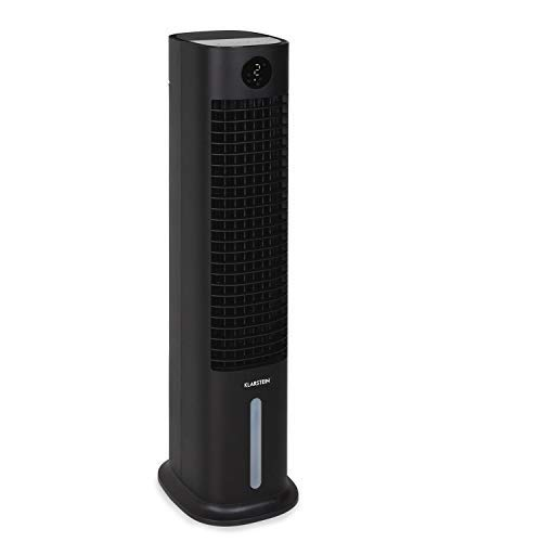 Klarstein Skytower Grand Smart Luftkühler Ventilator Luftreiniger Luftbefeuchter, WLAN-Funktion, App-Control, Luftdurchsatz: 480 m³/h, 80 W, Tank: 8 Liter, 2 x Kühlakku, schwarz