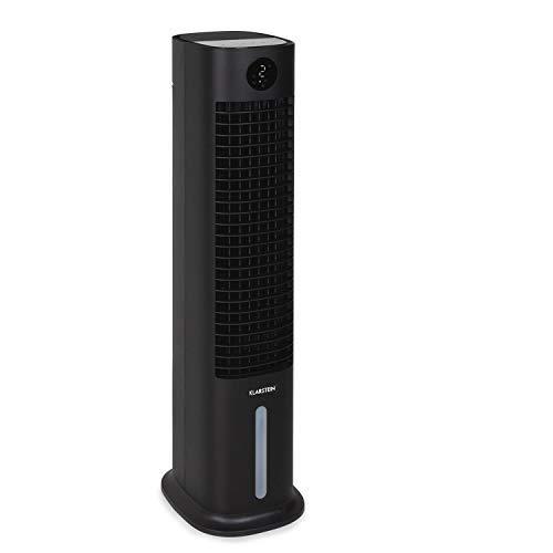 Klarstein Skytower Grand Smart Air Cooler - Fan, Air Purifier, Humidifier, WiFi Function, App Control, Air Throughput: 480 m³ / h, Power: 80 Watts, Tank: 8 Litres, 2 x Cold Packs, Colour: Black