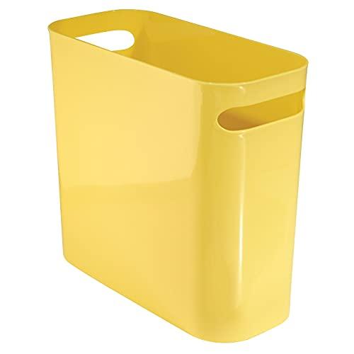 mDesign contenedor basura con asas - Cubo de basura de plástico en color amarillo - Ideal para la cocina, baño o como papelera oficina