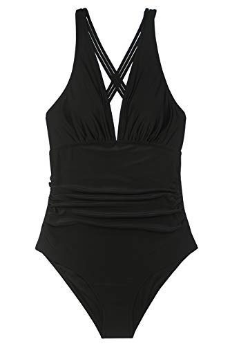 Phurro Women V Neck Crossback One Piece Swimsuit Ruched Tummy Control Swimwear, X-Large Black