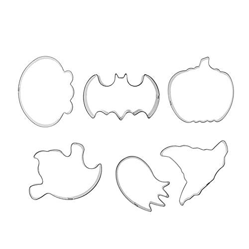 Biscotto di Halloween Stampo Acciaio Inox Fai da Te Biscotto Fondente Fondant della Cucina Stampo Fai da Te Craft Fondant Biscuit Che Fa Kit Stampo per La Decorazione del Partito di Nozze 6pcs