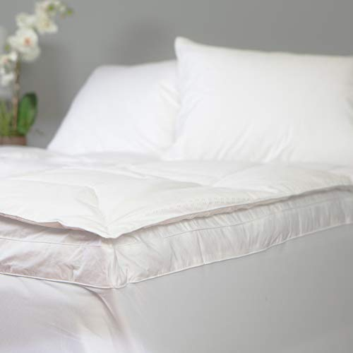 Allied Essentials Luxe 100% Cotton White Down and Goose Featherbed Mattress Topper, Queen