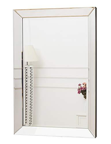 RICHTOP - Espejo de Pared con Borde Biselado para Comedor (60 x 90 cm), diseño Rectangular, Color Plateado …