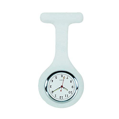 Analoge Schwesternuhr Nurse Watch mit Sicherheitsnadel und Fluoreszierende Zeigern Pflegeuhr Krankenschwesternuhr Pulsmesser Weiß