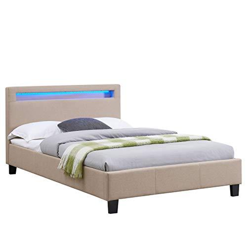 CARO-Möbel Polsterbett Einzelbett Doppelbett SATOKA in beige, inklusive Lattenrost und LED Beleuchtung, Designbett mit Stoffbezug, 120 x 200 cm