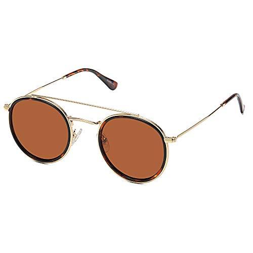 SOJOS Sunset SJ1104 - anteojos de sol polarizadas, diseño retro y redondo, Marco dorado C9/Marco de tortuga brillante/Lente marrón,...