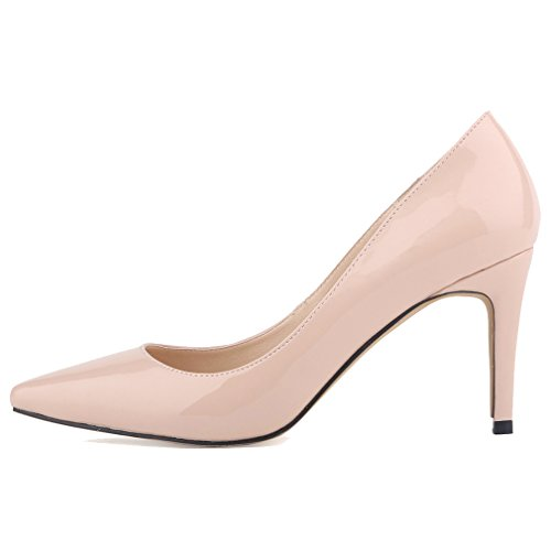 Xianshu Women Patent Leather High Heel Shoes Pointed Toe Shallow Mouth Stiletto Pumps(Apricot-38 EU)
