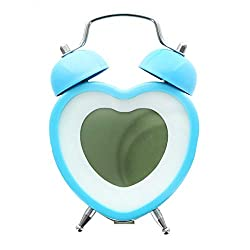 Heart Shaped Twin Bell Digital Alarm Clock, Blue