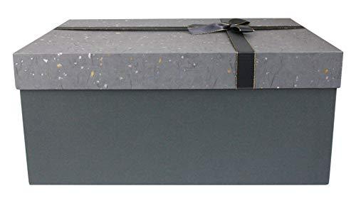 Emartbuy Scatola Rigida, 33 x 23 x 13.5 cm, Scatola Grigia Con Coperchio Argento Oro Grigio