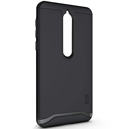 TUDIA Merge Nokia 6.1 Case with Heavy Duty Extreme Protection/Rugged but Slim Dual Layer Shock Absorption Case for Nokia 6.1 (2018) (Matte Black)