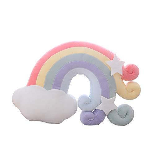 Süßes Himmelserien-Kissen, gefülltes Mond, Sternschnuppe und Regenbogen, Plüsch-Spielzeug, weiches Muschel-Schlafkissen, Kinder-Sofa, Heimdekoration, Mädchen-Geschenk (Regenbogenschwanz-1)