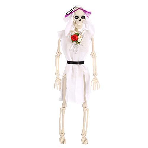 Pingente de Halloween KESYOO Esqueleto de Noiva Fantasma com Roupas para Casas Assombradas, Cemitério, Decoração de Halloween