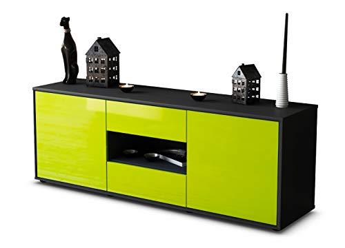 TV Schrank Lowboard Antonella, Korpus in anthrazit matt / Front im Hochglanz Design Limettengrün (135x49x35cm), mit Push to Open Technik und hochwertigen Leichtlaufschienen, Made in Germany