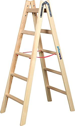 prinzwork Holzleiter Bockleiter Sprossenleiter Stehleiter Holzfarben 2x6