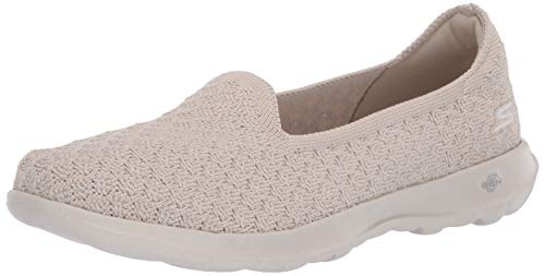 Skechers Damen GO Walk LITE Sneaker, Beige, natürliche Textilborte, 40 EU
