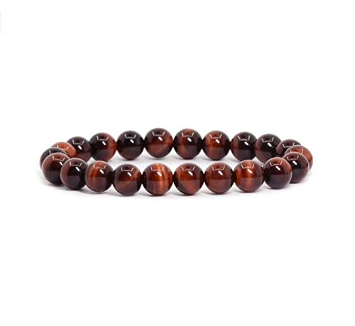 Price comparison product image Natural Red Tiger Eye Gemstone Bracelet 7.5 inch Stretchy Chakra Gems Stones Healing Crystals Great Gifts (Unisex) GB8B-43