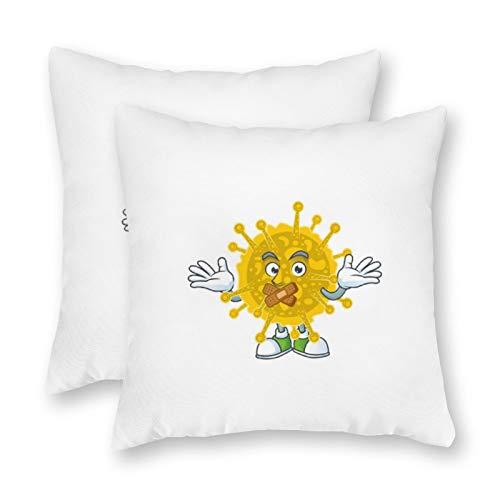 happygoluck1y Coro-na-vi-rus - Federa per cuscino in tela con motivo a fumetti, 18 x 18/45 x 45 cm, set di 2 federe decorative per cuscini per divano
