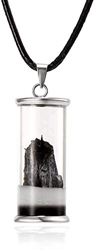 ZGYFJCH Co.,ltd Collar Colgante Margarita Flor Seca Montaña de la Nieve Botella de Deriva de Madera Deseo Collar Colgante de Botella de Vidrio con Cadena de Cuero para Mujer Collar de joyería