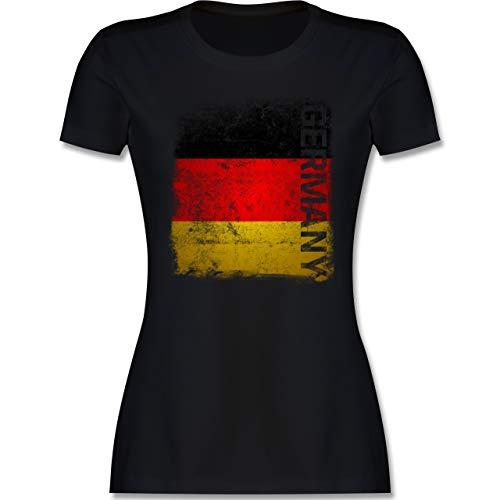 Fußball-Europameisterschaft 2021 - Germany Vintage Flagge - XL - Schwarz - t Shirt Deutschland Damen - L191 - Tailliertes Tshirt für Damen und Frauen T-Shirt
