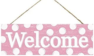 Baby Girl Welcome Home Hospital Wooden Sign (12.5 Inches x 6 Inches) | Pink White Polka Dot