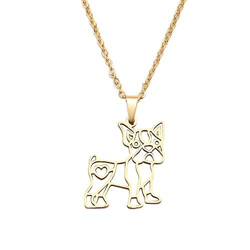 YQMR Colgante Collar para Mujer,Collar con Colgante De Mujer Dorado Hueco Grabado Perro Animal Colgante Joyería De Moda Regalo para Mamá Cumpleaños Amistad Familia