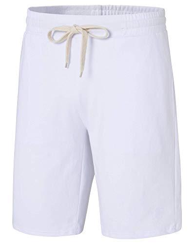 Vcansion Men's Casual Elastic Waist Cotton Comfy Sport Running Drawstring Bermuda Shorts White US XL