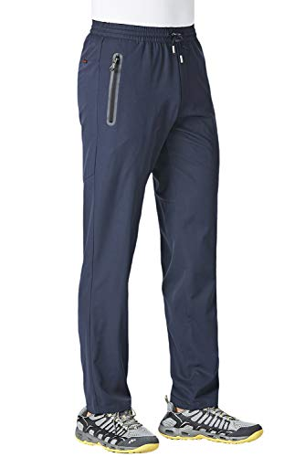 KEFITEVD Men's Running Pants Casual Gym Workout Sweatpants Stretch Slim Fit Tapered Pants with Drawstring Jogger Pants Navy