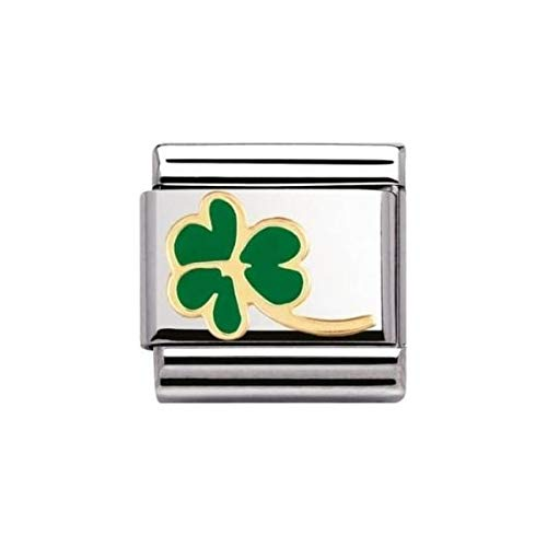 Nomination Composable Classic Nature Clover Leaf with Stem Stainless Steel, Enamel and 18K Gold