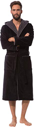 Morgenstern Bademantel für Herren aus Baumwolle mit Kapuze in Schwarz Männer Bademantel wadenlang Sauna Mantel Baumwolle Grösse XL